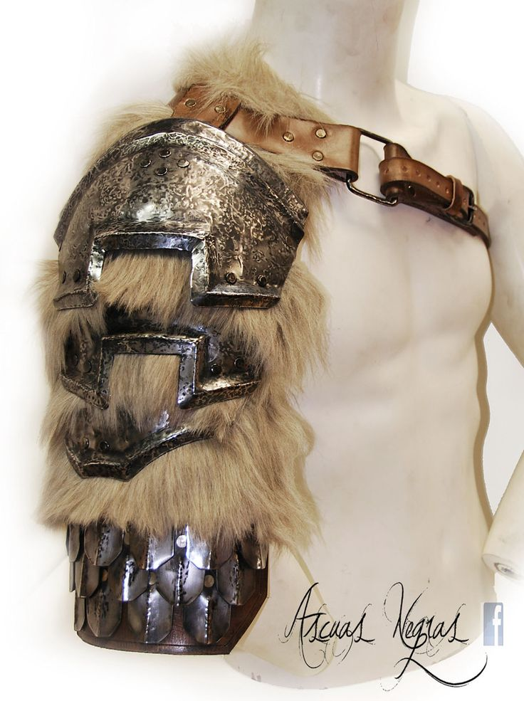 Nordic fantasy steel and leather shoulder armor by AscuasNegras