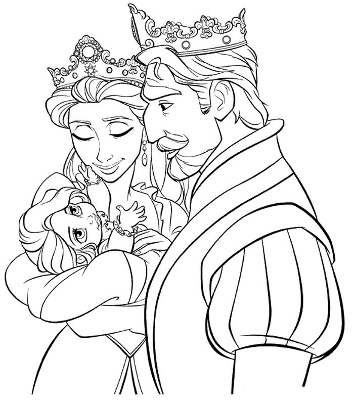 tangled king queen and baby rapunzel coloring page