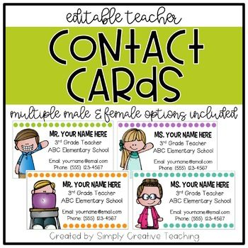 These editable teacher contact cards are great to give to parents so that they have your contact information whenever needed. Give these out at Meet the Teacher Night or Open House! They are the size of a standard business card.