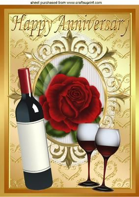 RED WINE RED ROSE FOR AN ANNIVERSARY A4 on Craftsuprint designed by Nick Bowley - RED WINE, RED ROSE, FOR AN ANNIVERSARY A4, In a beautiful Gold Ornate frame, make a special Anniversary card, Also can be sen in A5 - Now available for download!