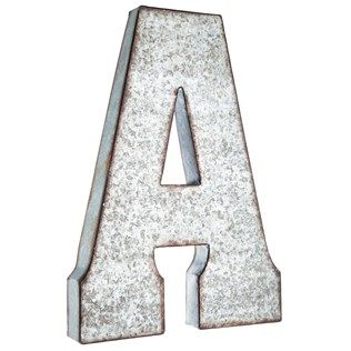 "Put a vintage-inspired spin on monogram letters using this stylish Large Galvanized Metal Letter - A! This oversized hollow metal letter features a distressed-edged galvanized metal finish and a stunning font style. Spell a name or team name, or display initials, words, and more with this unique, lightweight rustic letter!    	Dimensions:    	  		Length: 20 1/2""  	  		Width: 14 3/4""  	  		Thickness: 2""      	Hanging Hardware:    	  		2 - Hanging Holes (5 1/4"" from ..."