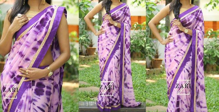 ZA1702-Rs.4900/- Violet shibori print pure georgette finished with violet sequins border.Blouse-Violet rawsilk with matching border  Buy from below link: http://www.anjushankar.com/Product/Details/1266