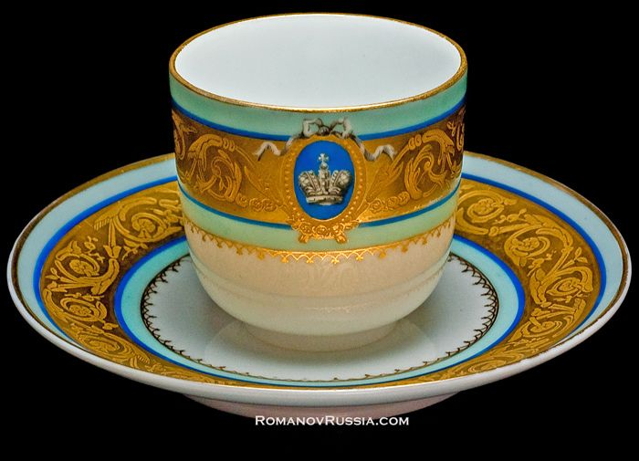 Antique porcelain coffee cup and saucer from the Imperial Russian Livadia Palace Tsar Alexander II painted with a crown