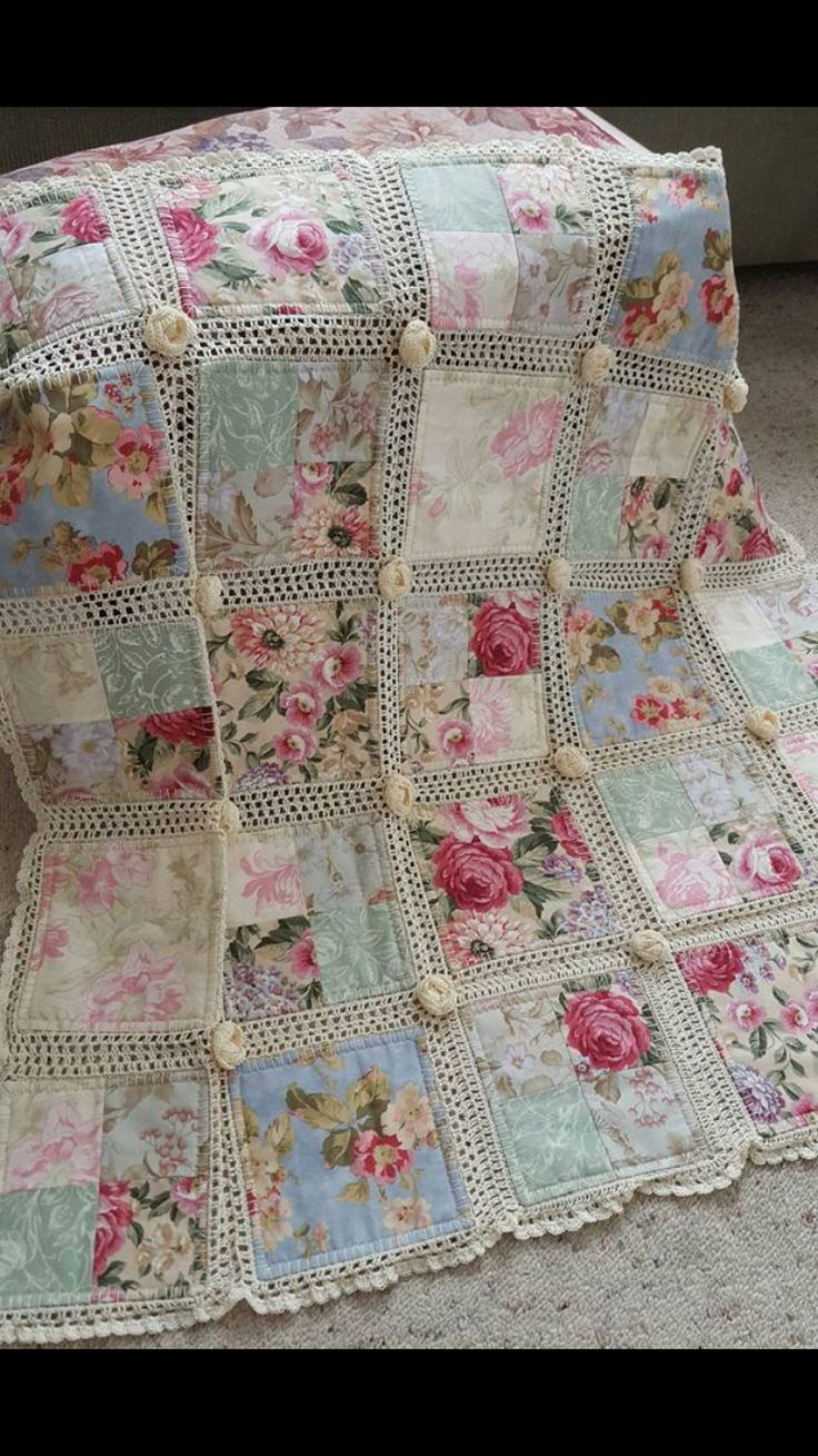 Love the idea of a 4 patch big block with the crochet border....still lacy but fewer holes.