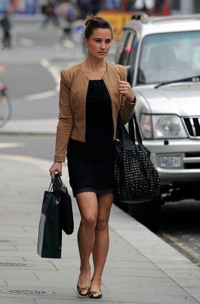 Pippa Middleton - Simple black dress + leather jacket