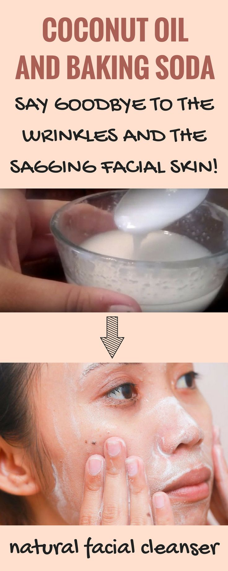 Coconut oil and baking soda, natural facial cleanser!