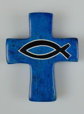 Croix Enfant en Céramique Bleue - Poisson Ichtus