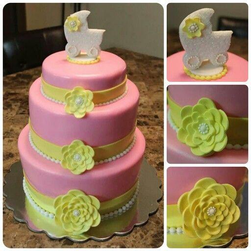 Babyshower, fondant, pink & yellow
