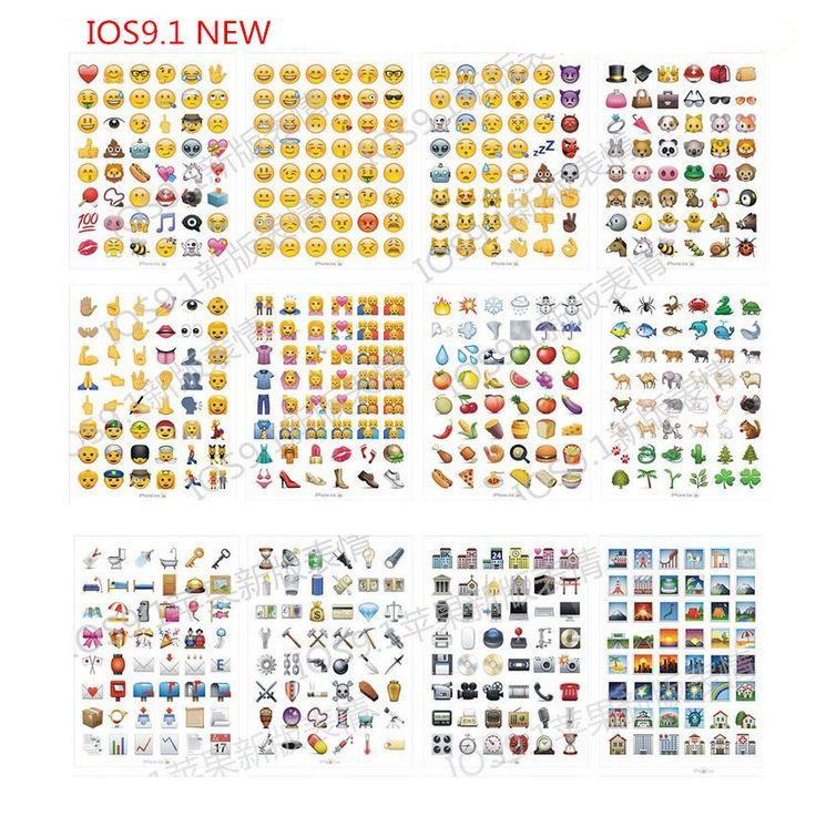 10 лист(ов) / lot IOS 9.1 новые увлекательные Emoji улыбка наклейки ( 48 DieCut ) наклейки для ноутбука, Сообщение * высокое качество винил * смешные * творче...