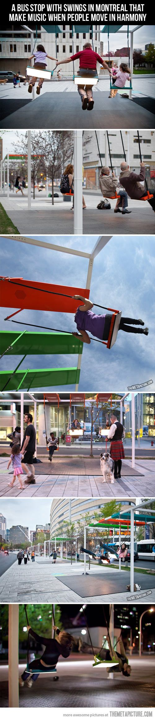 A bus stop with swings in Montreal that make music when people move in harmony. I absolutely LOVE this!