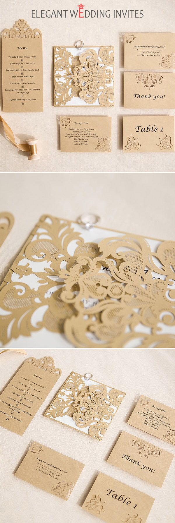 modern bronze laser cut pocket invitations with