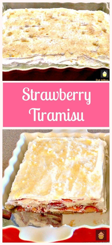 Strawberry Tiramisu. A wonderful chilled dessert, using fresh strawberries and very easy to prepare. #Italian #dessert