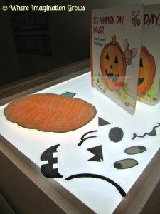 """""""It's Pumpkin Day, Mouse"""" Activity {Pumpkin Faces & Light Table Play} - Where Imagination Grows"""