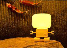 36 шт./лот симпатичный робот из светодиодов звучать управление ночник главная спальня настольная лампа, Звук датчика и контроллера робота из светодиодов свет