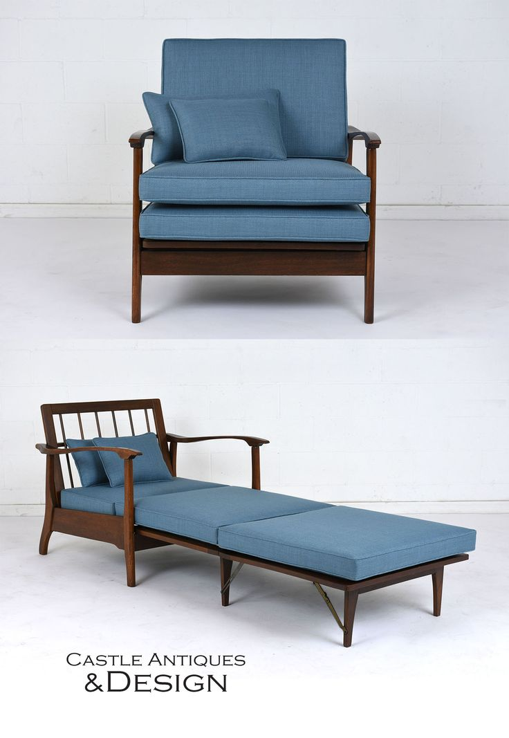 Mid-Century Modern Recliner Lounge Chair #midcenturymodern #midcentury #recliner #loungechair #teakwood #carvedwood #stainedwood #polishedwood #upholstery #newupholstery #twoinone