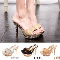 Wish | Hot 2016 Sexy Women Sandals Rhinestone Decorated Ladies Sandal Women Slippers High Heels Fashion Shoes