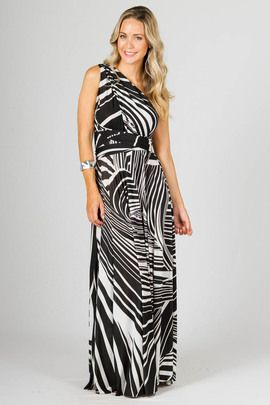"""Multi Way Wrap Maxi - Black Graphic by Paper Scissors Frock. This clever design can be worn in endless styles.  It really is up to your imagination.  We have shot it in a few styles to give you some ideas. Made from high quality ITY polyester.  Pictured model is 5'9"""""""
