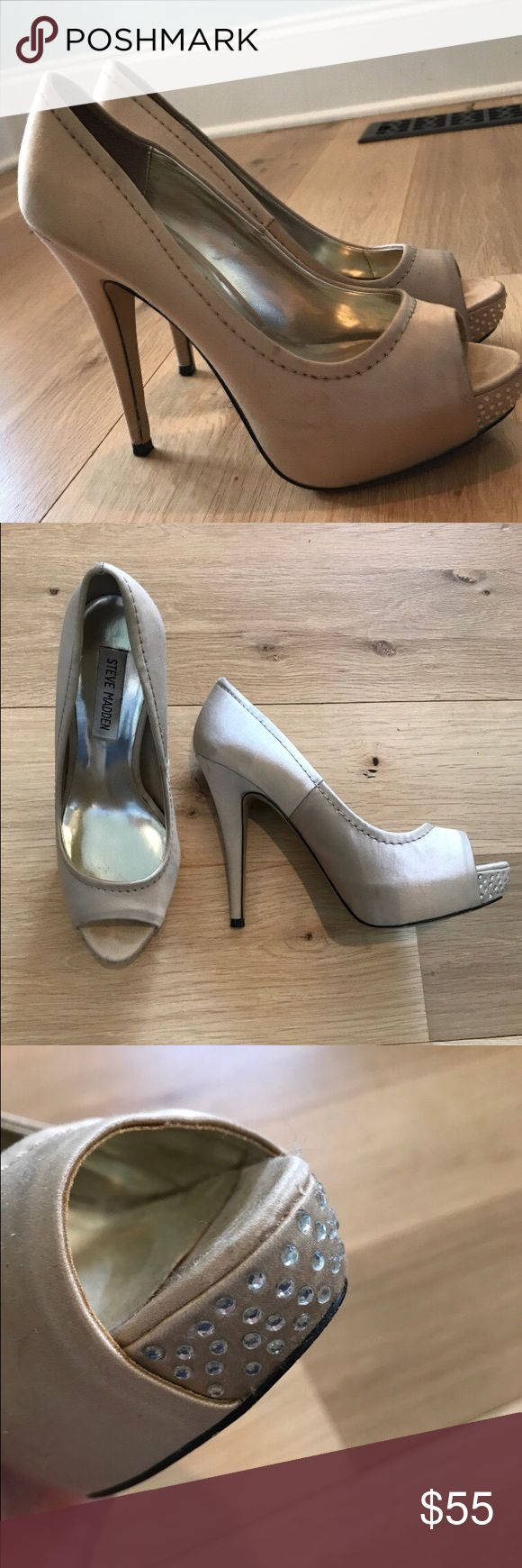 Steve Madden Champagne Stilettos Size 7.5  Champagne colored heels with rhinestones near open-toe area. In gently used condition Steve Madden Shoes Heels
