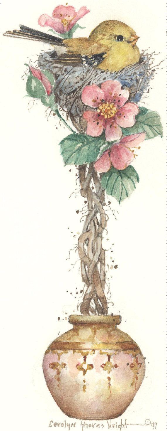 Oriental litografia jilguero Topiary 10 x 5 por CShoresInc en Etsy