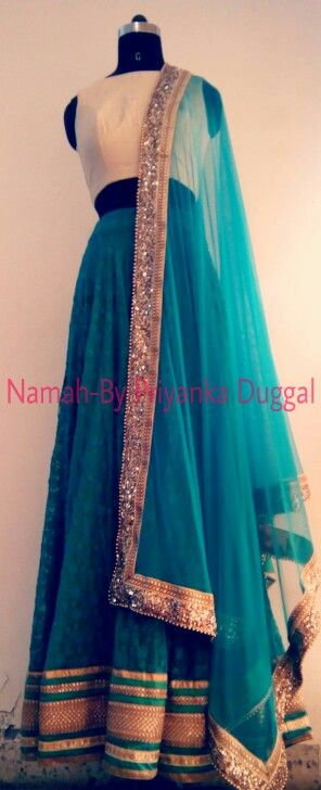 Turquoise blue thread work lehenga -namah by priyanka duggal Contact : +918879518919
