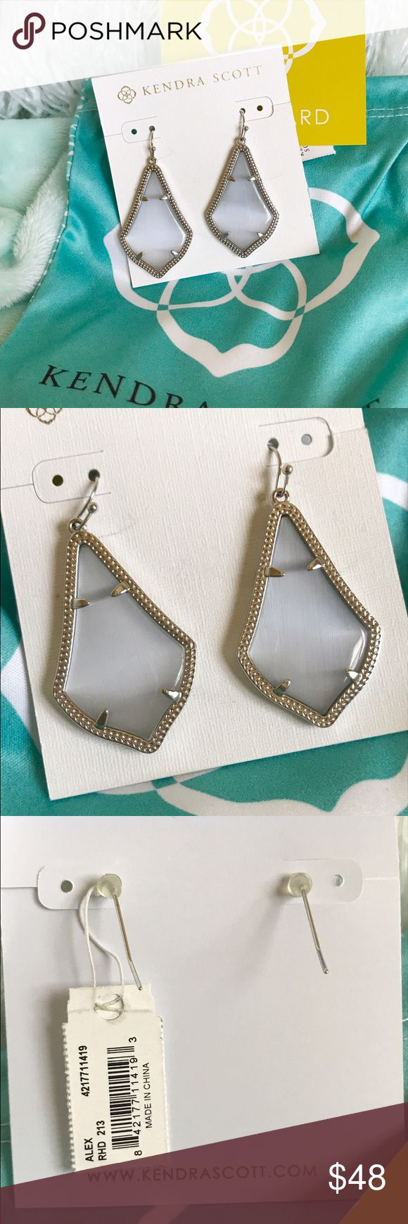 NWT Kendra Scott Alex Rhodium Slate Earrings Brand new Kendra Scott Alex earrings.  In Rhodium Slate Cats Eye (silver hardware).  Last photo shows size comparison only.  Use the offer button to make your offer - Kendra is having a sale on these today, and so am I!! 😊 Kendra Scott Jewelry Earrings