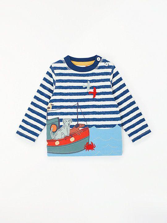 7eed8e06 John Lewis & Partners Baby Seaside Applique Stripe T-Shirt, Multi ...