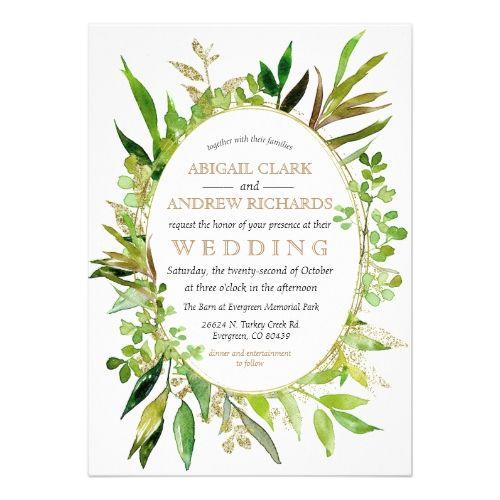 Greenery & Gold Leaf Framed Wedding Invitation
