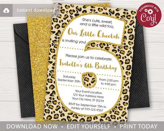 Cheetah 6th Birthday Invitation Editable Template Online Instant Download Birthday Invitations Cheetah Birthday Party Cheetah Birthday