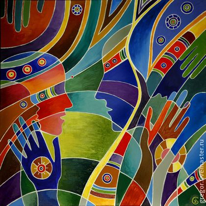 Гармония любви - синий,радуга,разноцветный,гармония,любовь,подарок,картина акрилом