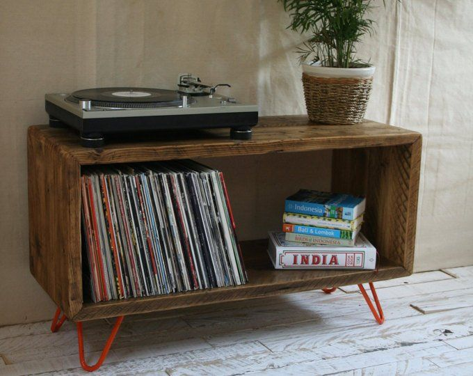 Record Player Stand Industrial Hairpin Leg Lp Vinyl Storage Etsy Rustic Industrial Furniture Record Player Stand Furniture
