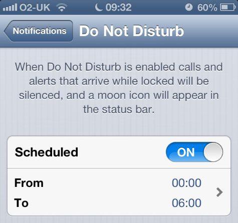 """El modo """"No Molestar"""" tuvo una falla en dispositivos Apple con iOS 6, al no desactivarse después del horario establecido."""