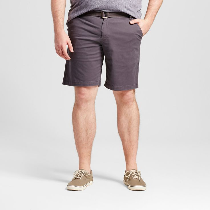 Men's Big & Tall Belted Flat Front Chino Shorts - Mossimo Supply Co. Gray 60