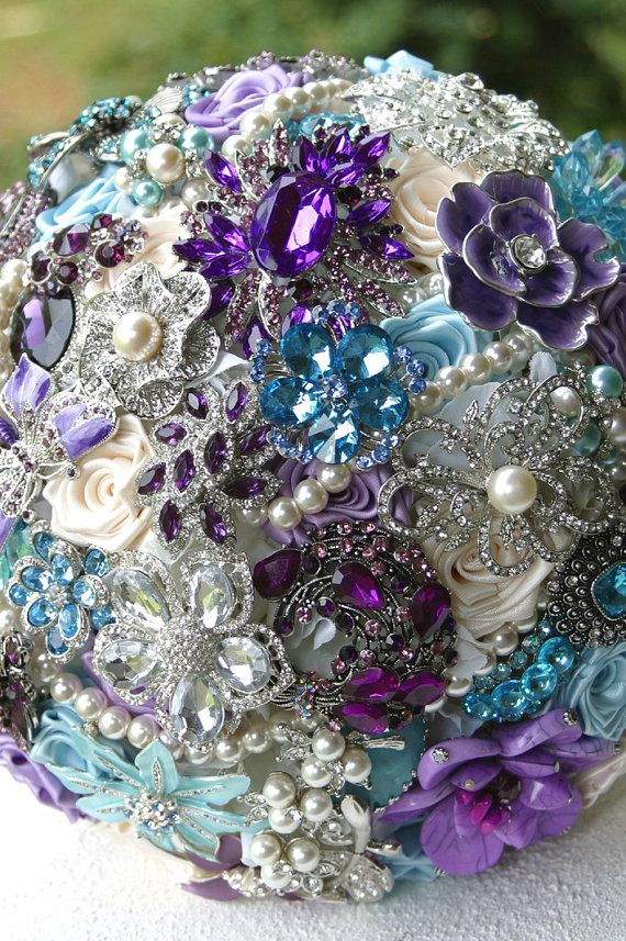 Purple and Blue Wedding Brooch Bouquet. Deposit on by annasinclair