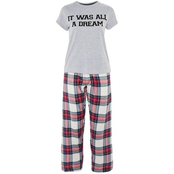 Topshop 'It Was All a Dream' Pyjama Set ($37) ❤ liked on Polyvore featuring intimates, sleepwear, pajamas, red, topshop sleepwear, topshop pyjamas, red pjs, topshop pjs and red pajamas