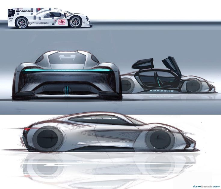 Porsche mission e sketches by exterior designer emiel for Exterior car design