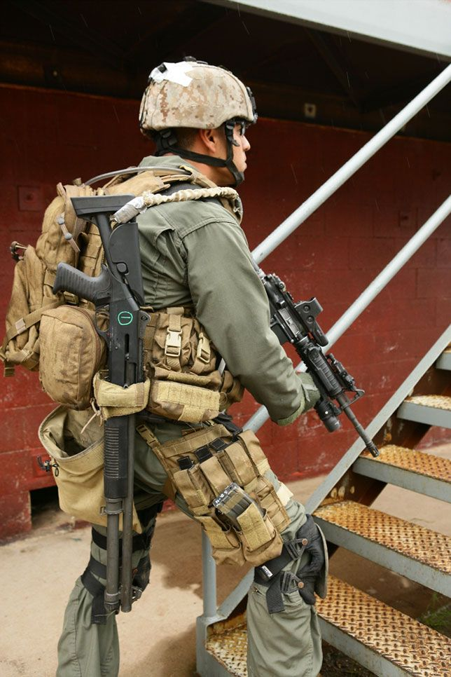 A Marine from a Marine Boarding Team practicing Close Quarter Combat.