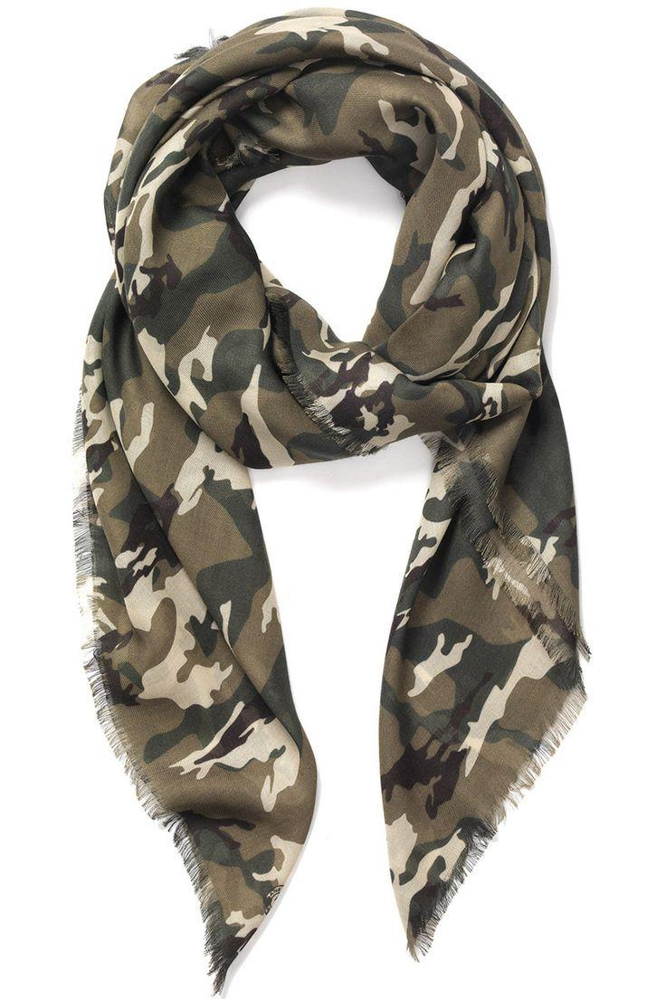 Jane Carr - Camouflage Khaki Scarf