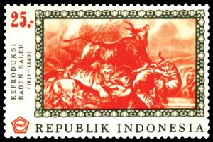 "E-106-1-RADEN-SALEH The pioneer of modern Indonesian art was Raden Saleh (1807-1880). The paintings of this modern artist were bought at a high price at an auction in Christies' Public Sale Building, Singapore, in March 1994. There, one of Raden Saleh's paintings was sold for $300,000 (Singapore) (Rp. 405,000,000) The title of that painting is, ""The Eruption of the Mt. Merapi Volcano"". Painted in 1886 with oil framed canvas, it is 61.8 cm x 104.4 cm."