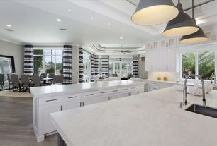 Transitional Kitchen with Limestone counters, Kitchen island, Breakfast bar, Coral Fruit Bowl, Crown molding, Hardwood floors