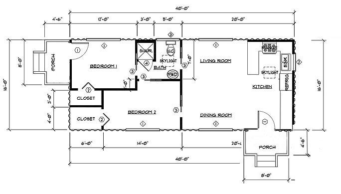 Two Bedroom One Bath Shipping Container Home Floor Plan Using 2 X 40 39