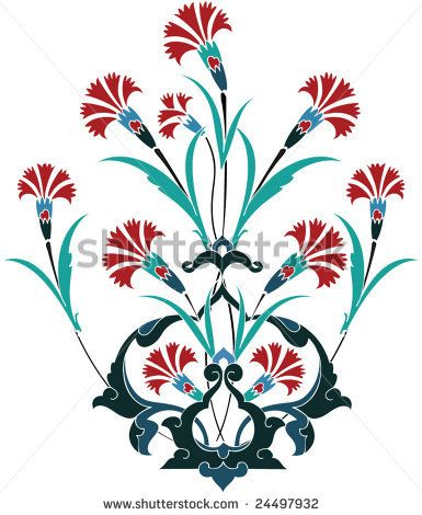 Traditional ottoman turkey turkish tulip tile design by Murat Cokeker, via ShutterStock
