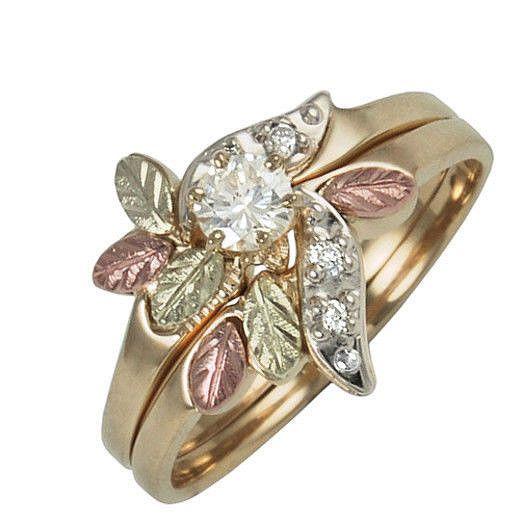 10k black hills gold ladies diamond engagement wedding ring size 7