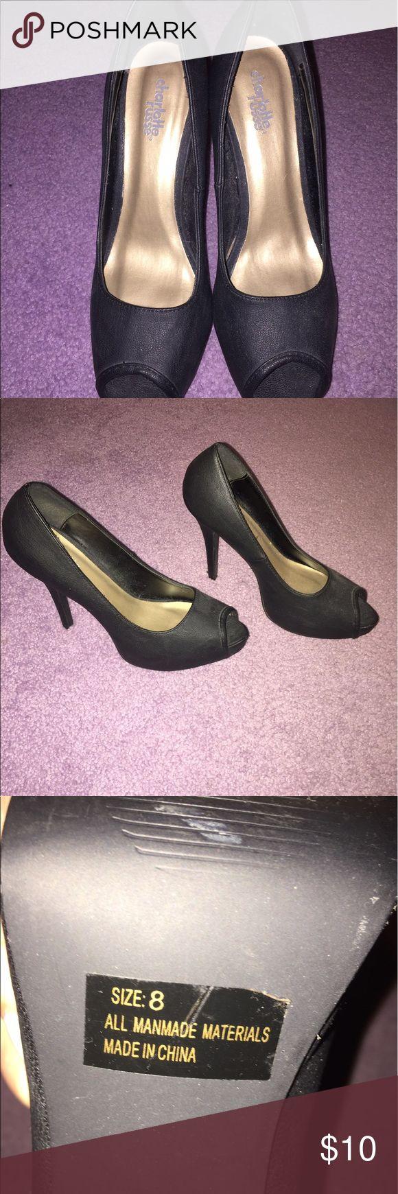 Charlotte Ruse Heels Black faux leather heels Charlotte Russe Shoes Heels