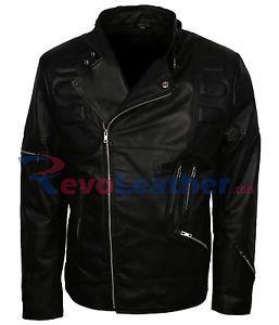 Mens Stylish Belted Collar Fashion Padded Black Biker Leather Motorcycle Jacket