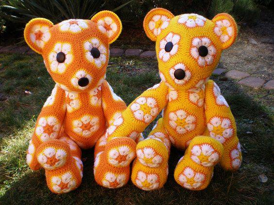 Handmade crochet toys Teddy Bear African Flower by LanaGatto