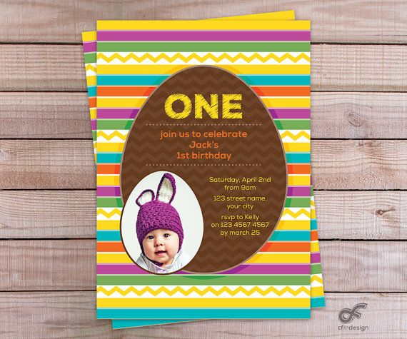 Birthday Party Invitation Photo Personalized Printable - Easter