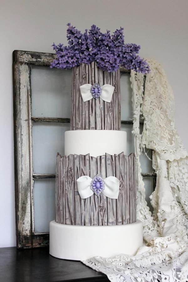 Lilacs & Weathered Wood Cake