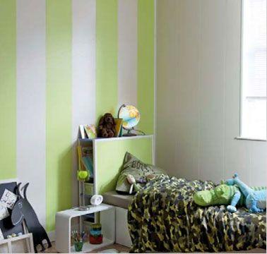 Lambris mural PVC couleur en pose verticale avec une alternance de vert anis et blanc pour un effet déco dans une chambre d'enfant.