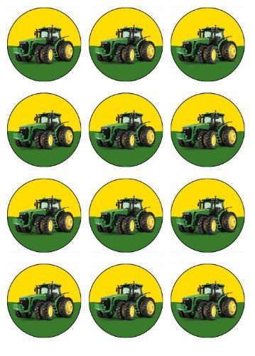 John Deere Birthday Party ideas Tractor 12 EDIBLE John Deere Cupcake Toppers or Cookie Toppers Edible Image for Birthday Party