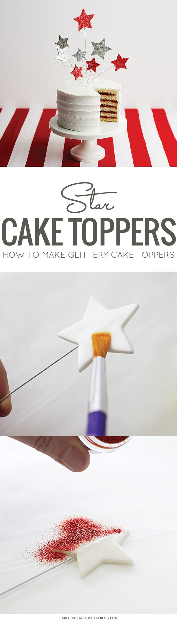 How to make Glittery Star Cake Toppers | Stars & Stripes Cake by Cakegirls for TheCakeBlog.com